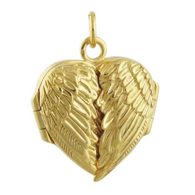 Angel Wings Heart Locket - 14K Gold Plated Sterling Silver - Memorial Love NEW