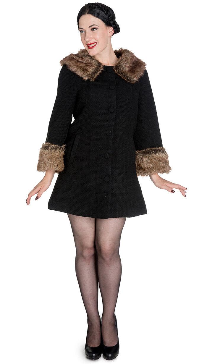 Hell Bunny FAUSTINE Fake Fur 50s RETRO Pin Up Coat   MANTEL Rockabilly