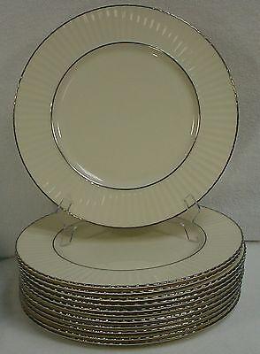 "LENOX china COLONNADE PLATINUM pattern DINNER PLATE - Set Twelve (12) @ 10-7/8"""