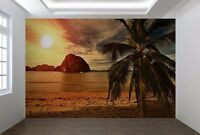 Beach at Sunset palm tree tropical island Wallpaper wall mural (11519606)