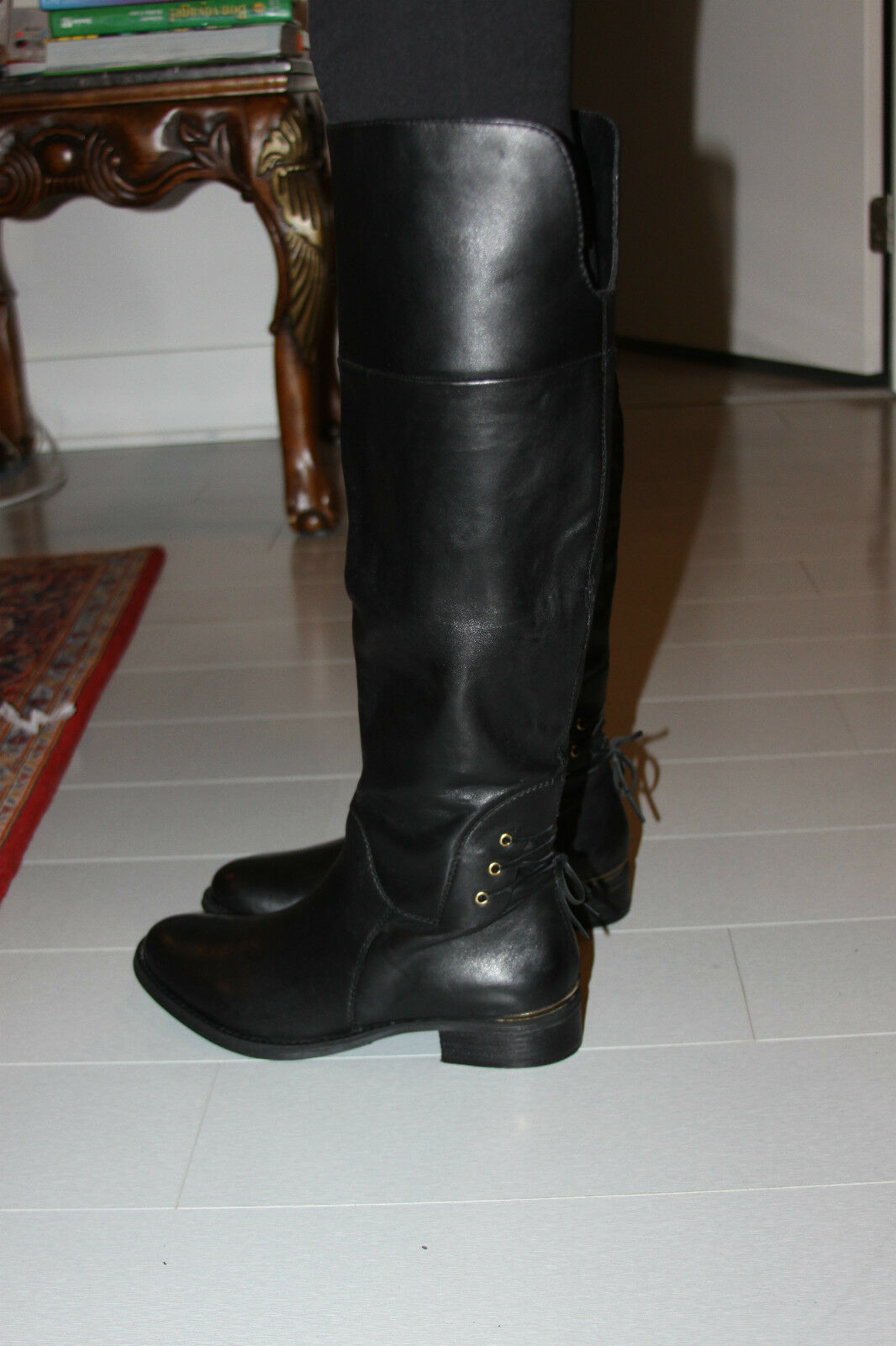 STEVE MADDEN NERVES BLACK LEATHER 7 KNEE BOOT SIZE 7 LEATHER bda96c