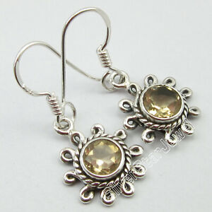 925-Solid-Silver-Yellow-Round-Shape-6-x-6-mm-Citrine-Earrings-Gemstone-Jewelry