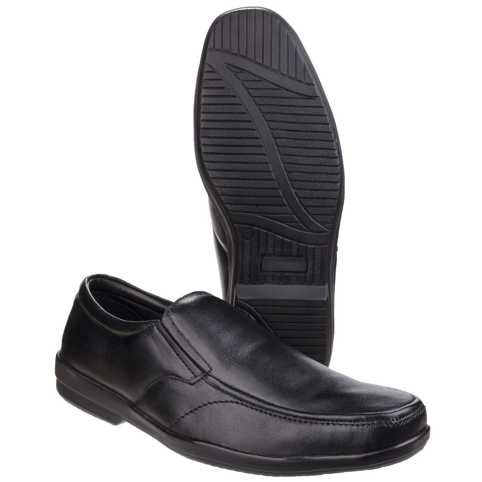 Fleet Herren  FOSTER Alan Leder Twin Gusset Herren Fleet formelle Slipper UK 6-12 6b9477