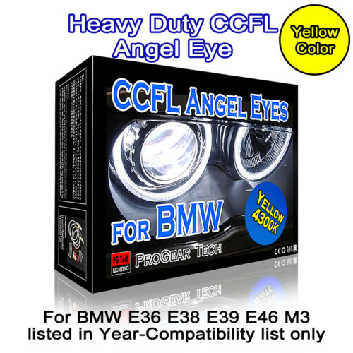 4300K OEM Yellow Heavy Duty BMW CCFL Angel Eyes Halo Rings DRL E46 E39 E38 E36