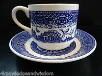 Vintage Oriental Blue Willow Coffee Cup and Saucer HOMER LAUGHLIN J55N6 Stamp