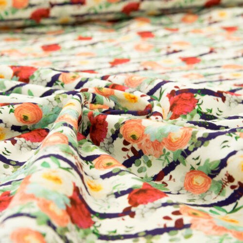 French Terry Tissu Digital Pression fleurs rayures multicolores sommersweat Prix = 0,5 m