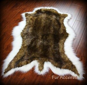 brown white tail deer skin pelt rug faux fur fake sheepskin bear skin throw ebay. Black Bedroom Furniture Sets. Home Design Ideas