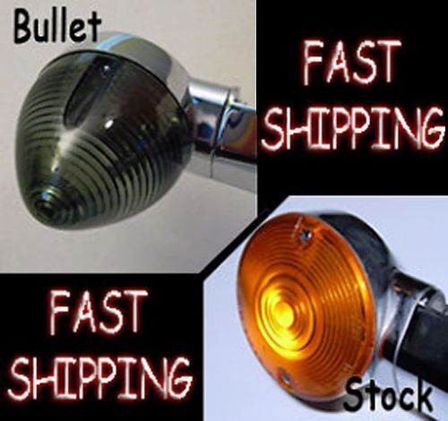 FITS HARLEYS WITH  83MM  FLAT STYLE  TURN SIGNAL LENS BULLET SMOKED  MADE IN USA