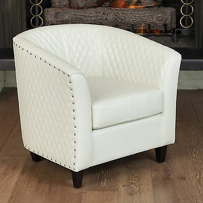 Quilted Ivory White Leather Tub Barrel Design Club Chair w/ Nailhead Accents