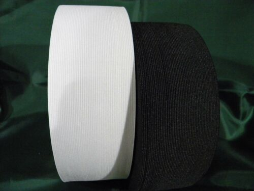 """Knitted Elastic Black//White 3/"""" width for waistbands sleeves underwear skirts"""