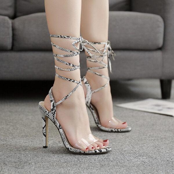 Sandali stiletto eleganti tacco 12 cm animalier lacci pelle sintetica 1023