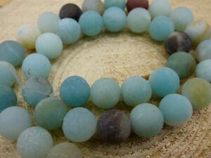 Amazonit gefrostet 6mm blau Edelstein Perlen Stränge Hobbyauflösung Bastel