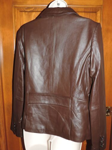 Liz S Claiborne Button Størrelse Chokolade Frakke Jacket Down Small Læder nfrW7pv8n