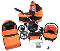 Stroller Combination 3in1 - Crib+stroller+baby Carrier Auto Wheels Steering