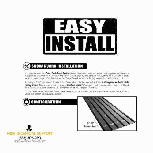 STOP SNOW SLIDING OFF YOUR ROOF MINI SNOW GUARD™ PERFECT SEAL GASKET NO SILICONE