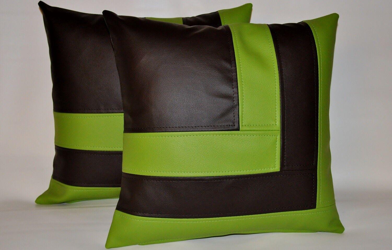 2 Marronee & verde mela cuscino in finta pelle copre lo stile di blocco 18  cuscini
