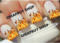 Hot Flame Motorcycle Race Car Fire Flames》tattoo Nail Art Decals