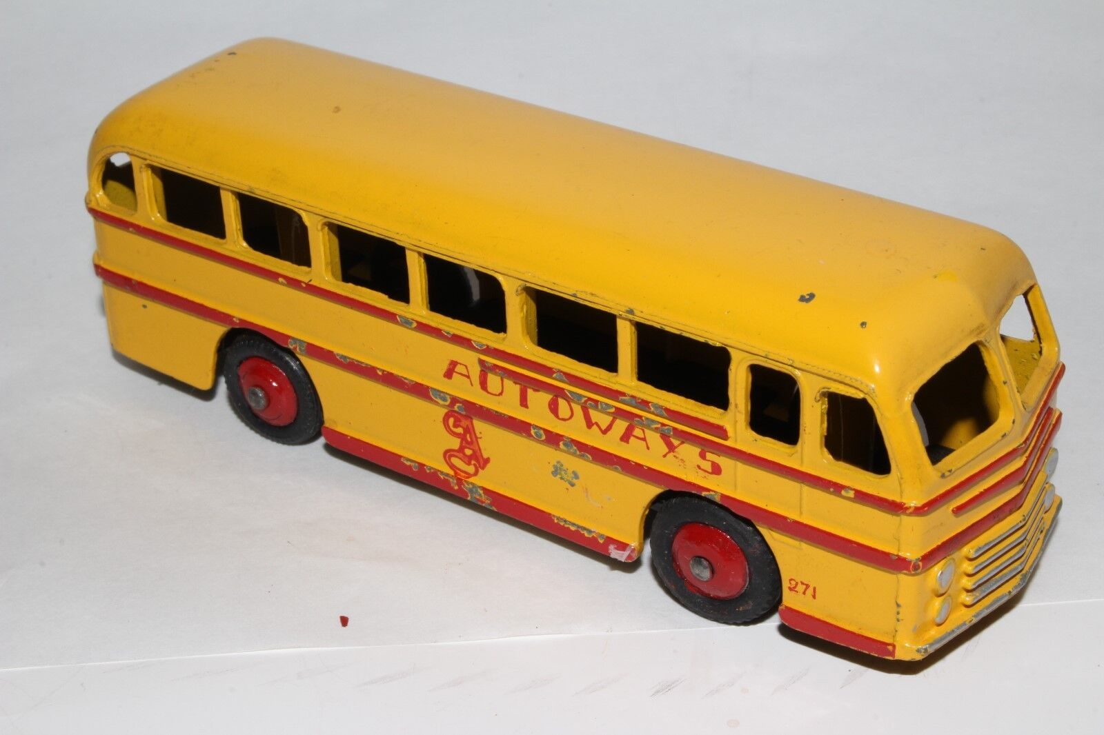594ms Dinky 282 Leyland Real Tiger Bus, Private Line Autoways, Original