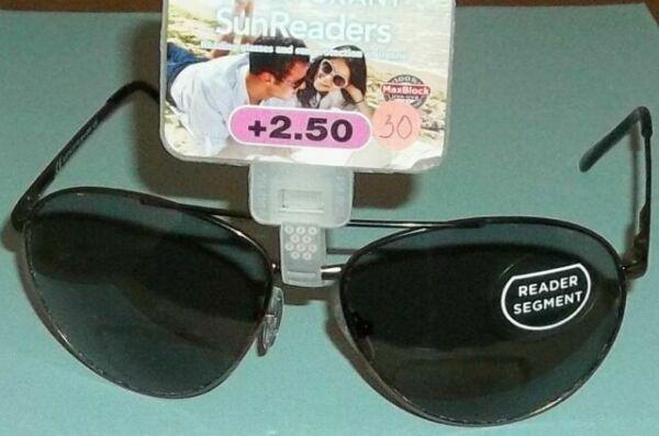 2.50 #29 Foster Grant Archer Gunmetal Aviator Bifocal SunReaders Sunglasses