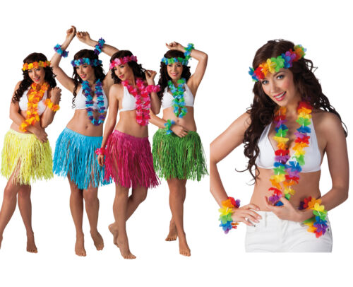Hawaiian Grass Skirt Flower Hula Lei Wristband Necklace Fancy Dress Party Sets