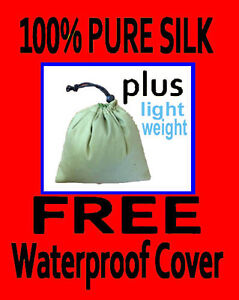 100-PURE-SILK-Sleeping-Bag-Liner-amp-WATERPROOF-COVER-Jungle-green-for-traveling