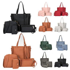 Image Is Loading Uk 4pcs Women Leather Shoulder Tote Purse Satchel