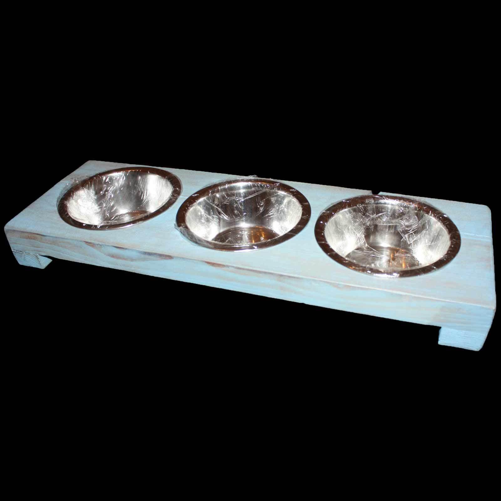 3er Futterstation Napfständer Hundenapf Fressnapf Hund Katze 3x0,7 l Shabby blau  | Neuankömmling