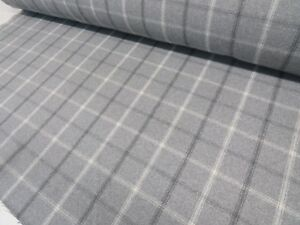DOVE-GREY-CHECK-Bamburgh-Square-Wool-Effect-Tartan-Upholstery-Curtain-Fabric