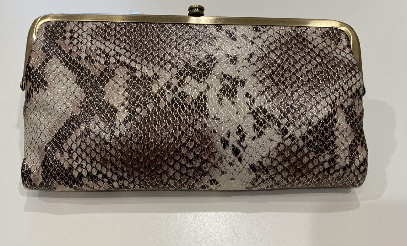 NWT Women's Hobo Vintage Leather Double Frame Clutch Wallet Metallic Snake - NEW