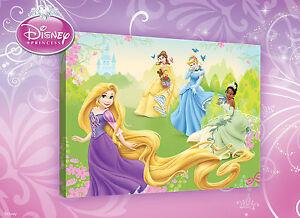 LEINWAND-BILD-WANDBILD-BILDER-PPD04O4-Disney-Prinzessinnen-Maedchen-60x40cm