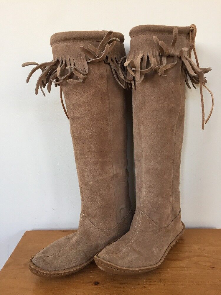 Vintage Cuero tire tire tire de flecos Minnetonka Moccasins la rodilla botas altas para mujeres 7 37.5  Hay más marcas de productos de alta calidad.