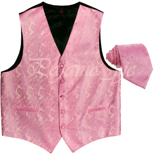 PINK 20-F Paisley Tuxedo Suit Dress Vest Waistcoat /& Neck tie Wedding Prom