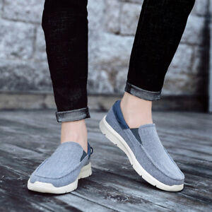 Mens-Canvas-Loafers-Casual-Flats-Slip-on-Shoes-Round-Toe-Cloth-Shoes-Comfort