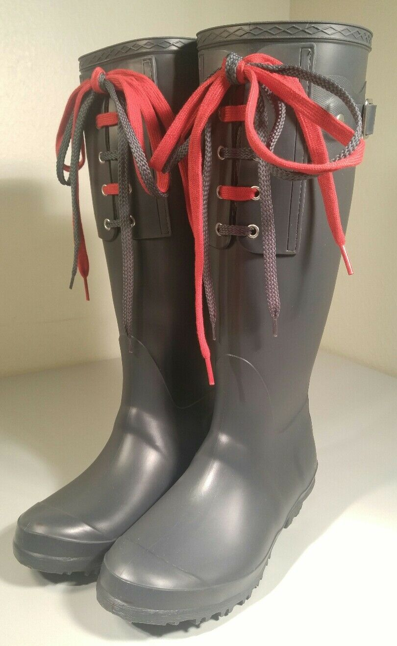 shopping online e negozio di moda Barneys Barneys Barneys New York Rubber Lace Up Rain stivali Galoshes ITALY NEAR MINT Sz  38 (7.5)  forniamo il meglio
