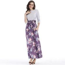 619b5e61fc88 item 1 Striped Floral Print 3/4 Sleeve Tie Waist Long Maxi Dress with  Pockets Women's -Striped Floral Print 3/4 Sleeve Tie Waist Long Maxi Dress  with ...