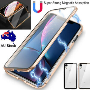 F iPhone SE 7 8 Plus XR XS Max Magnetic Metal Case Front + Back Glass Full Cover