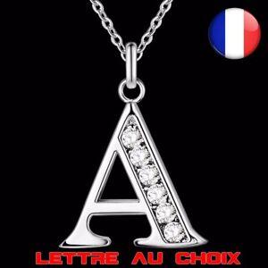 Collier-Lettre-A-Z-Strass-Chaine-Argent-Idee-Cadeau-Bijoux-Femme-Fille-Pendentif