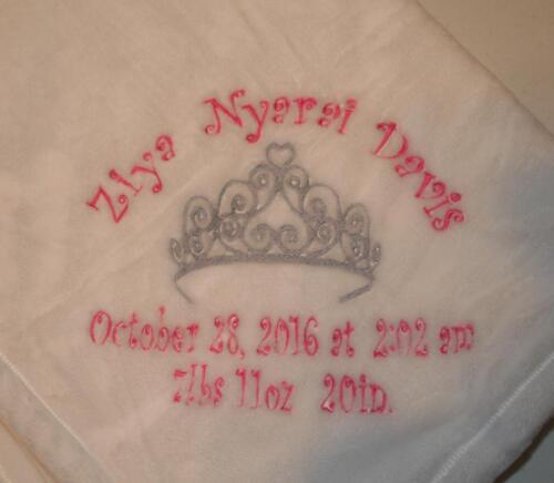 Embroidered Monogrammed Baby Blanket Stroller Soft Colors for Princess or Prince