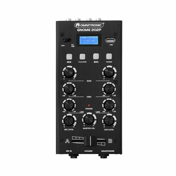Omnitronic Gnome 202P Mini DJ Mixer mit Blautooth & MP3 Player (schwarz)