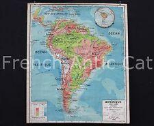 Rare carte scolaire Amérique Sud ancienne Physique cours d'eau relief sol FOREST