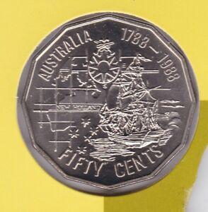 1988-First-Fleet-Ship-Australia-50-Fifty-Cent-UNC-Uncirculated-Coin-ex-UNC-Set