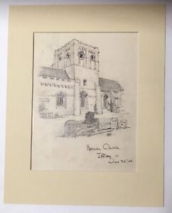Antique Matted 1920s Walter E. Church English Landscape Pencil Drawing, Iffley