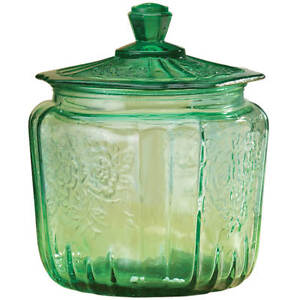 Green-Vintage-Depression-Type-Glass-Candy-Dish-Nut-Jar-w-Lid-Embossed-Design-New