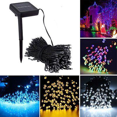 Solar Powered 100/200 LED String Fairy Lights Garden Outdoor Xmas Party Lamp