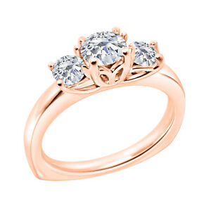 14K-Rose-Gold-Over-Round-Cut-Three-Stone-VVS1-Diamond-Engagement-Ring-For-Womens