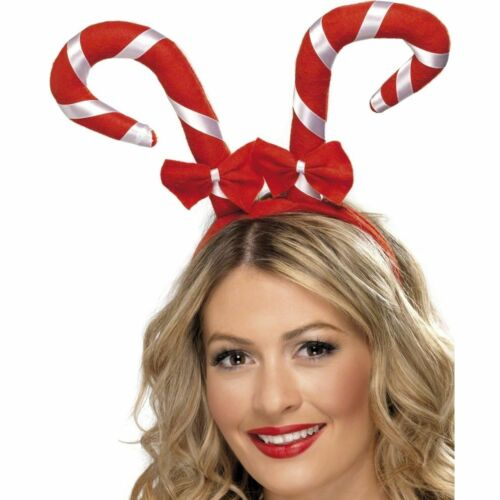 Ladies Christmas Candy Canes Red Bows Headband Tutu Fancy Dress Costumed Party