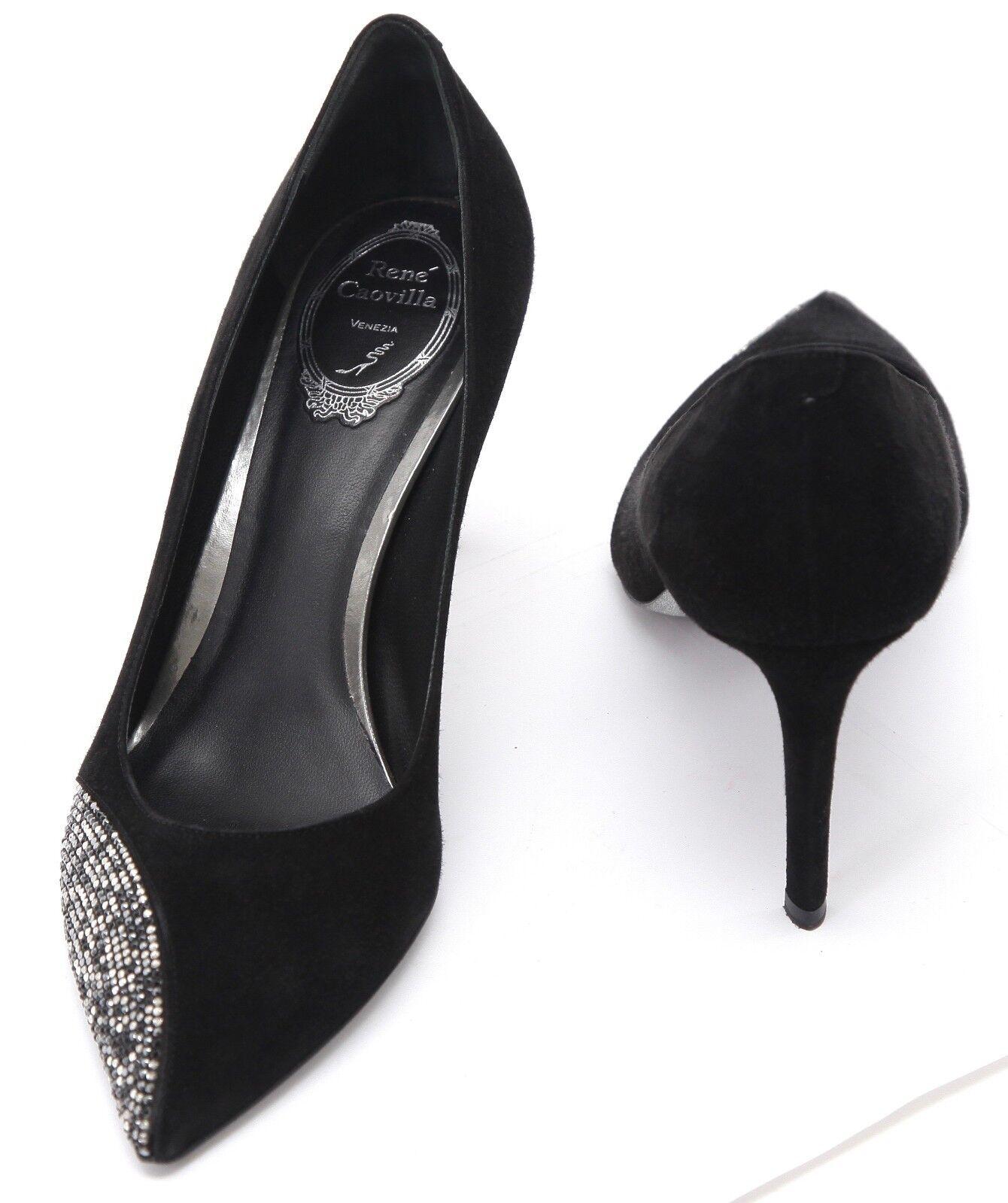 RENE CAOVILLA Black Suede Pump Crystal Pointed Toe Heel Heel Heel Sz 40 59c53e