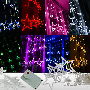 2M 168LED Star Hanging Curtain String Fairy Lights Lamp Christmas Wedding Decor eBay