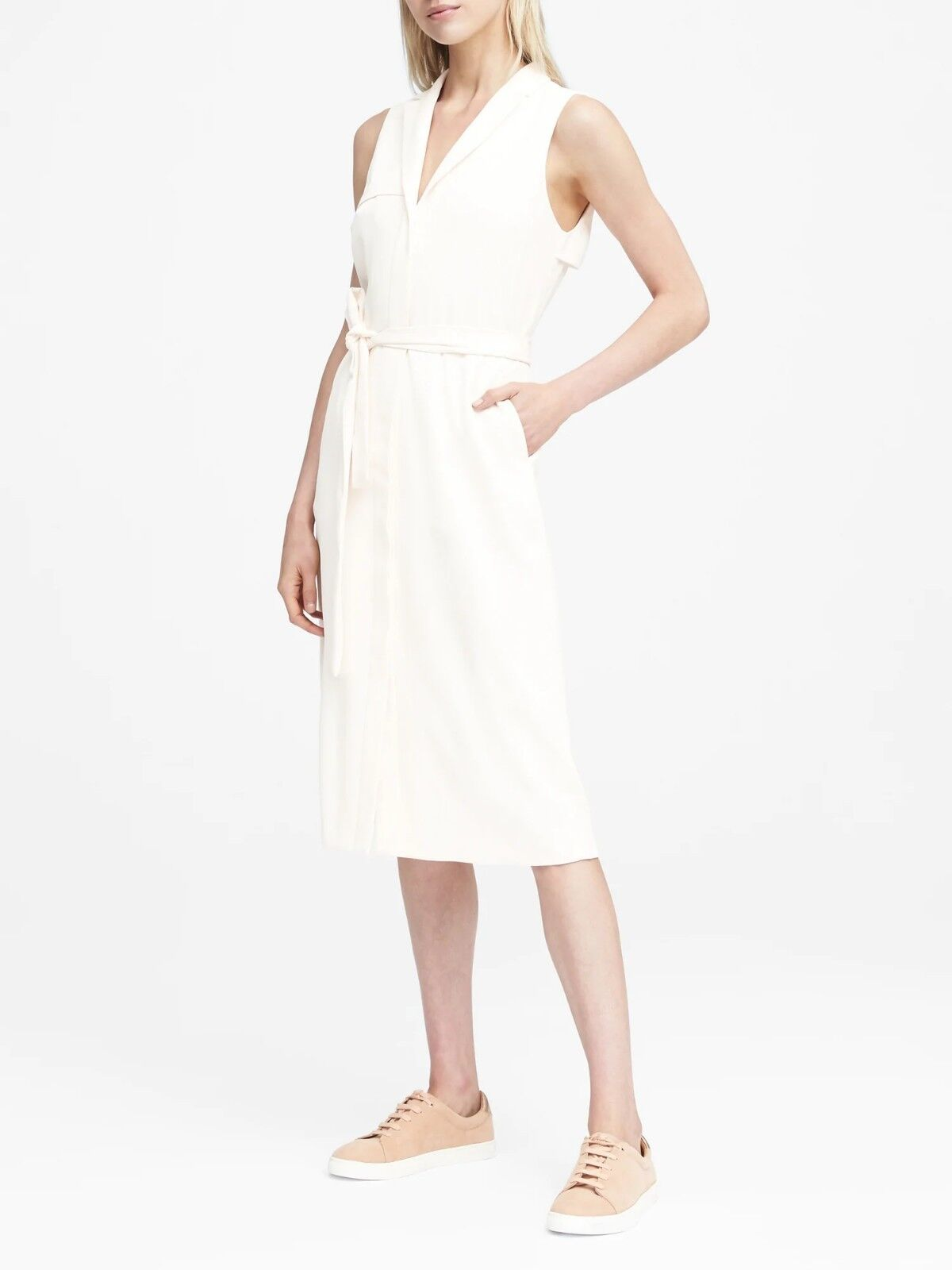 NWT Banana Republic Petite Trench Dress, Weiß Größe 2P 2 P        E1230