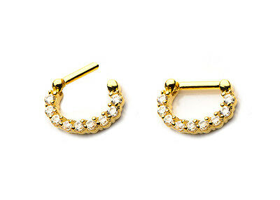 Septum Clicker Gold Plated Prong Set Clear Jewel Ring Size 14G 16 Gauge 10MM